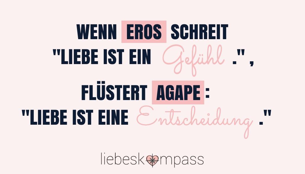 Arten von Liebe Eros Philia Agape romantische Liebe bedingungslose Liebe